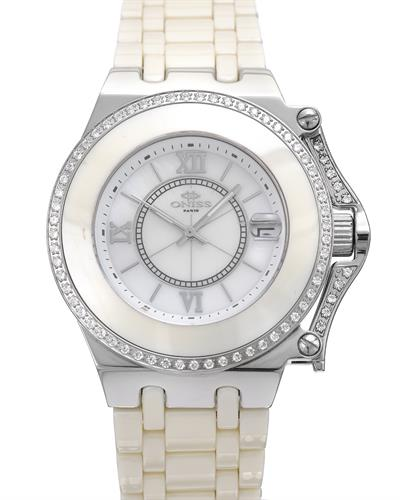 Oniss ON669-L/IV/WT PARIS Brand New Swiss Quartz date Watch with 0ctw of Precious Stones - cubic zirconia and mother of pearl