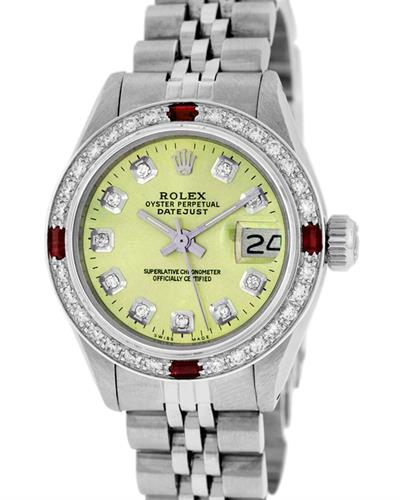 Rolex PreOwned Automatic (Self Winding) date Watch with 0.85ctw of Precious Stones - diamond and ruby