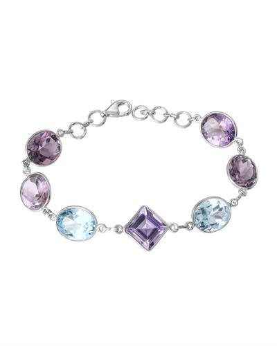 Brand New Bracelet with 30.2ctw of Precious Stones - amethyst and topaz 925 Silver sterling silver