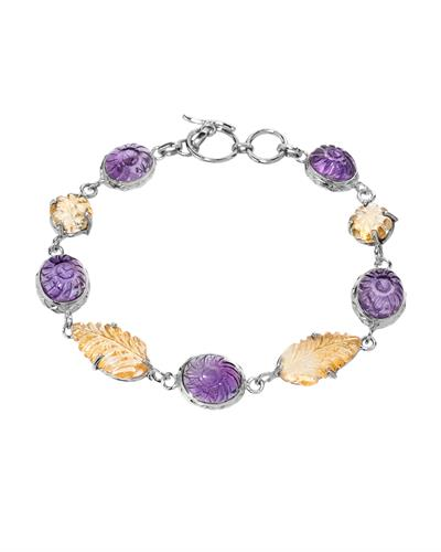 Brand New Bracelet with 41.09ctw of Precious Stones - amethyst and citrine 925 Silver sterling silver