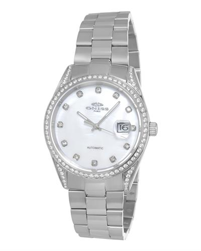 Oniss ON3883-MWT PARIS Brand New Automatic date Watch with 0ctw of Precious Stones - crystal and mother of pearl