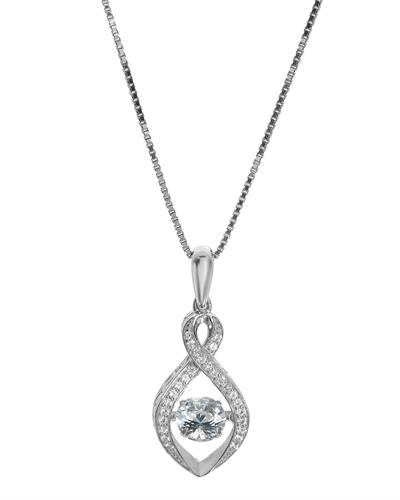 Brand New Necklace with 1.05ctw of Precious Stones - topaz and topaz 925 White sterling silver