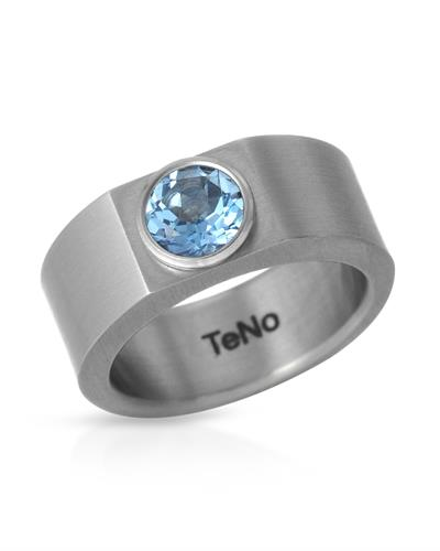TeNo Brand New Ring with 0.92ctw topaz  Metallic Stainless steel