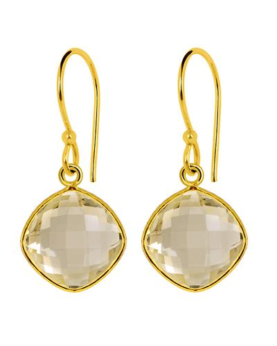 Brand New Earring with 16ctw citrine 14K/925 Yellow Gold plated Silver