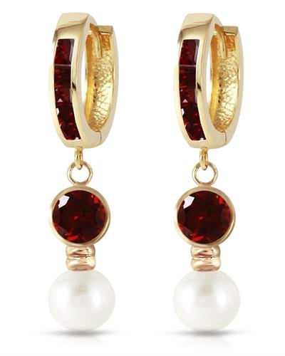 Magnolia Brand New Earring with 2.5ctw of Precious Stones - garnet and pearl 14K Yellow gold