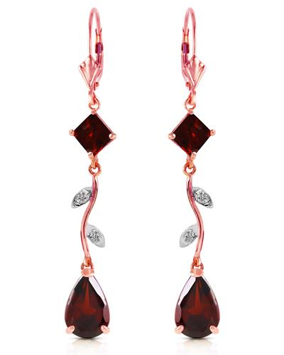 Magnolia Brand New Earring with 3.97ctw of Precious Stones - diamond and garnet 14K Rose gold