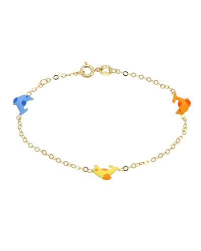Golden Arc Jewelry Brand New Bracelet  Multicolor Enamel and 14K Yellow gold