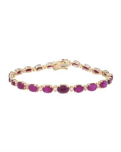 Brand New Bracelet with 14.5ctw of Precious Stones - diamond and ruby 14K Yellow gold
