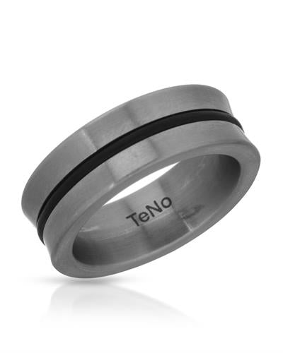TeNo Brand New Ring  Black ceramic and  Metallic Stainless steel