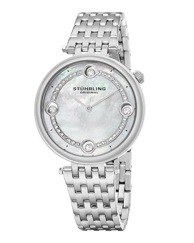 STUHRLING ORIGINAL 716.01 Symphony Brand New Japan Quartz Watch with 0ctw of Precious Stones - crystal and mother of pearl
