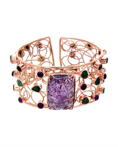 Brand New Bracelet with 84.72ctw of Precious Stones - amethyst, amethyst, and emerald 10K/925 Rose Gold plated Silver