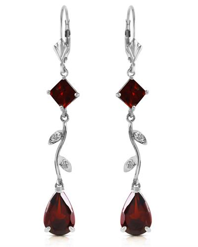Magnolia Brand New Earring with 3.97ctw of Precious Stones - diamond and garnet 14K White gold
