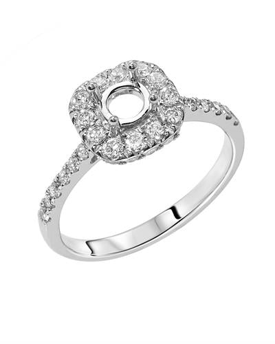 Brand New Semi Mount with 0.68ctw lab-grown diamond 14K White gold
