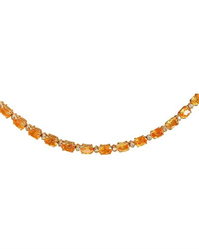 Brand New Necklace with 41.25ctw of Precious Stones - citrine and diamond 14K Yellow gold