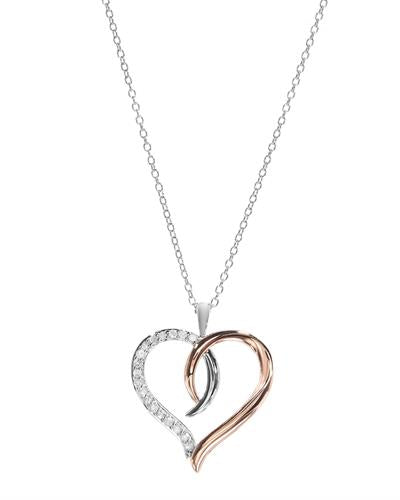 Brand New Necklace with 0.25ctw diamond 925 Two tone sterling silver