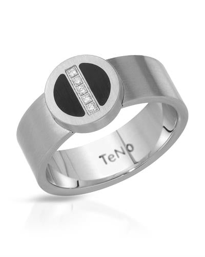 TeNo Brand New Ring with 0.03ctw diamond  Black ceramic and  Metallic Stainless steel