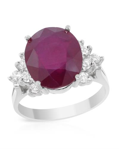 Brand New Ring with 4.9ctw of Precious Stones - diamond and ruby 14K White gold