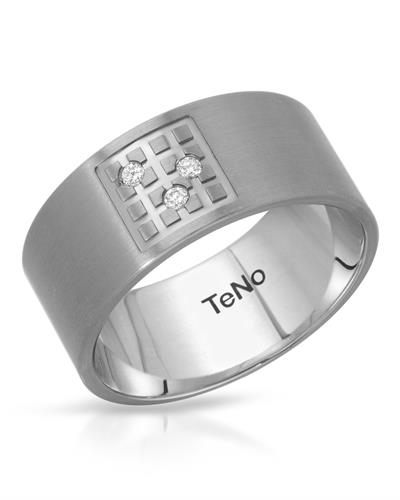 TeNo Brand New Ring with 0.06ctw diamond  Metallic Stainless steel