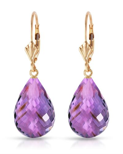 Magnolia Brand New Earring with 14ctw amethyst 14K Yellow gold
