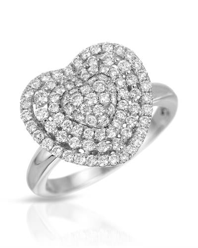 Julius Rappoport Brand New Ring with 0.87ctw diamond 18K White gold
