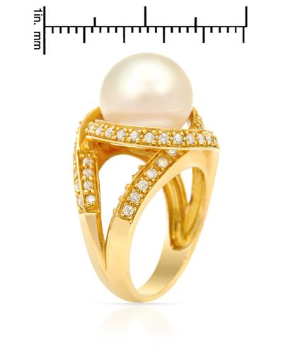 PEARL LUSTRE Brand New Ring with 0.82ctw of Precious Stones - diamond and pearl 14K Yellow gold
