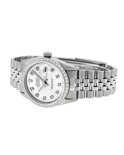 Rolex PreOwned Automatic date Watch with 1.2ctw diamond