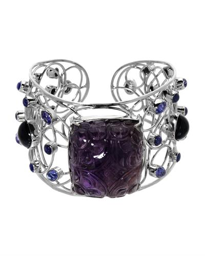 Brand New Bracelet with 153.63ctw of Precious Stones - amethyst, sapphire, and tanzanite 925 Silver sterling silver