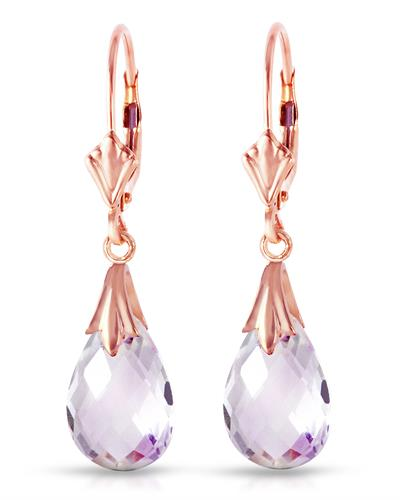 Magnolia Brand New Earring with 6ctw amethyst 14K Rose gold