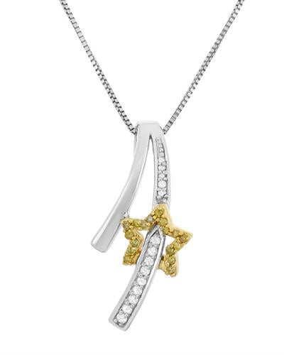 Brand New Necklace with 0.15ctw of Precious Stones - diamond and diamond 925 Two tone sterling silver