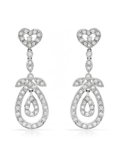 Brand New Earring with 0.78ctw diamond 18K White gold