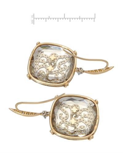 CASATO Brand New Earring with 38.2ctw of Precious Stones - diamond and quartz 18K Two tone gold