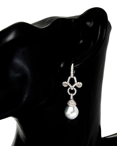 Michael Christoff Brand New Earring with 1ctw of Precious Stones - diamond and pearl 14K White gold