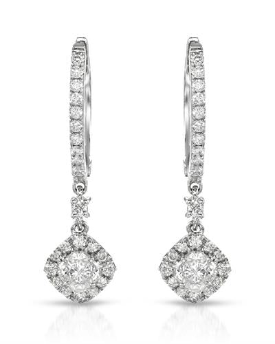 Julius Rappoport Brand New Earring with 0.73ctw of Precious Stones - diamond and diamond ctr 14K White gold