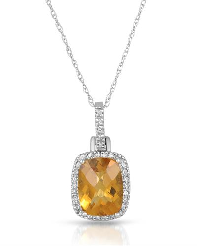 Magnolia Brand New Necklace with 2ctw of Precious Stones - citrine and diamond 10K White gold
