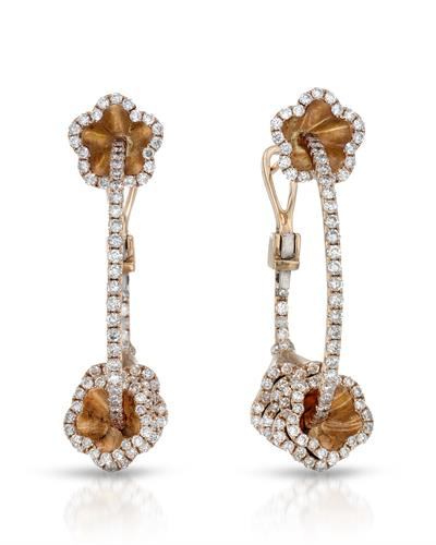 Julius Rappoport Brand New Earring with 1.82ctw diamond 18K Rose gold