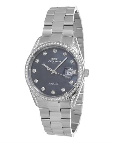 Oniss ON3883-MBK PARIS Brand New Automatic date Watch with 0ctw of Precious Stones - crystal and mother of pearl