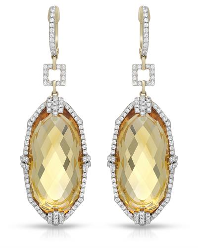 Michael Christoff Brand New Earring with 41.1ctw of Precious Stones - citrine and diamond 14K Yellow gold