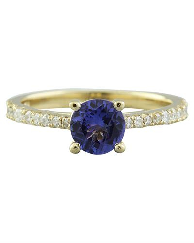 Brand New Ring with 1.28ctw of Precious Stones - diamond and tanzanite 14K Yellow gold