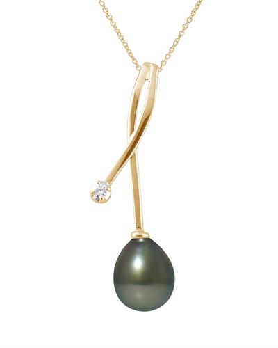 Ateliers Saint Germain Brand New Necklace with 0.02ctw of Precious Stones - diamond and pearl 9K Yellow gold
