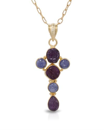 Brand New Necklace with 11.13ctw of Precious Stones - ruby and tanzanite 10K/925 Yellow Gold plated Silver