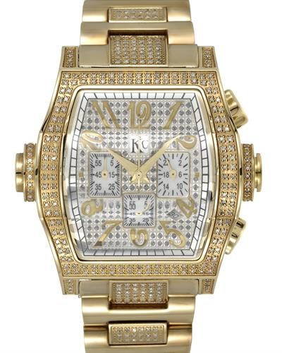 Techno Com by KC Brand New Japan Quartz date Watch with 2ctw of Precious Stones - diamond and mother of pearl