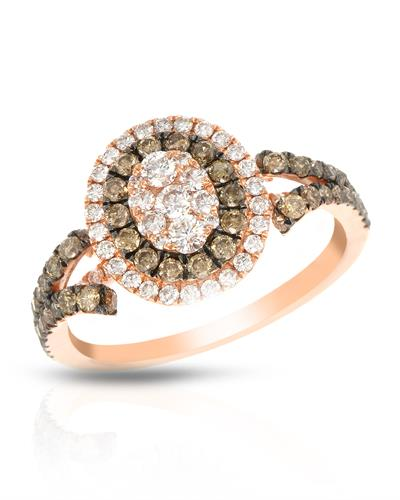 Brand New Ring with 1.12ctw of Precious Stones - diamond and diamond 14K Rose gold
