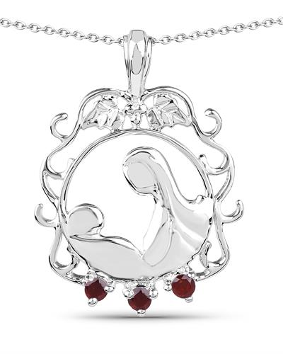 Brand New Necklace with 0.08ctw garnet 925 Silver sterling silver
