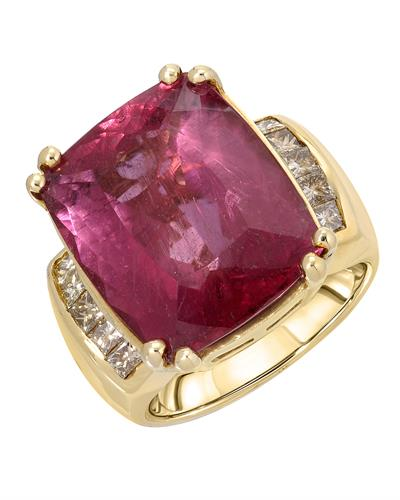 Brand New Ring with 15.42ctw of Precious Stones - diamond and Rubellite 14K Yellow gold