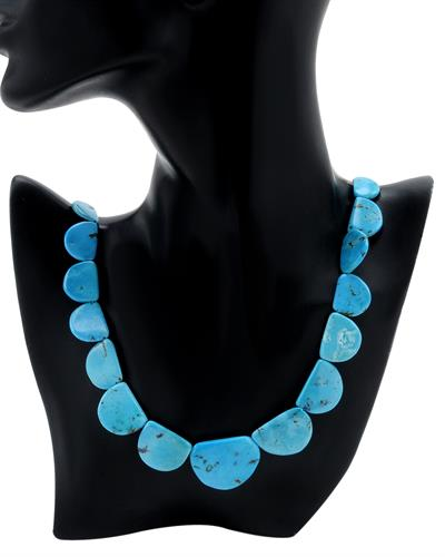 PEARL LUSTRE Brand New Necklace with 0ctw of Precious Stones - mother of pearl and turquoise  Blue Fabric