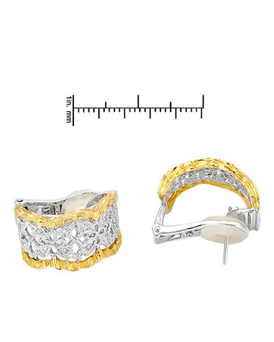 Brand New Earring with 0.22ctw diamond 18K Two tone gold