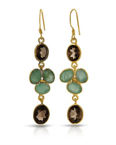 Brand New Earring with 10.45ctw of Precious Stones - emerald and topaz 10K/925 Yellow Gold plated Silver