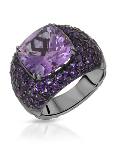 HELLMUTH Brand New Ring with 14.47ctw amethyst 925 Black sterling silver