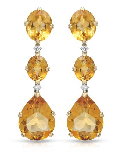 CASATO Brand New Earring with 32ctw of Precious Stones - citrine and diamond 18K Two tone gold