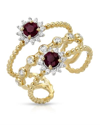 Lundstrom Brand New Ring with 0.81ctw of Precious Stones - diamond and ruby 14K Yellow gold